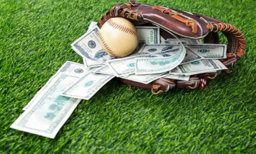 baseball glove with money