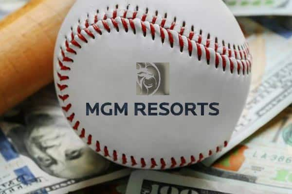 MGM Resorts logo on a baseball