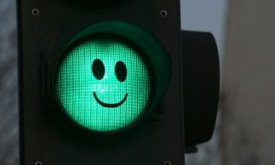Green light smiley face