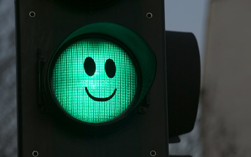 Green light smiley face