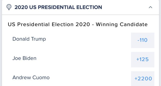 FanDuel 2020 Presidential Election Betting Odds