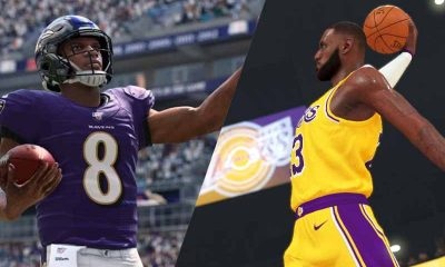 Lamar Jackson Madden NFL 20 and LeBron James NBA 2K20 video game sim betting