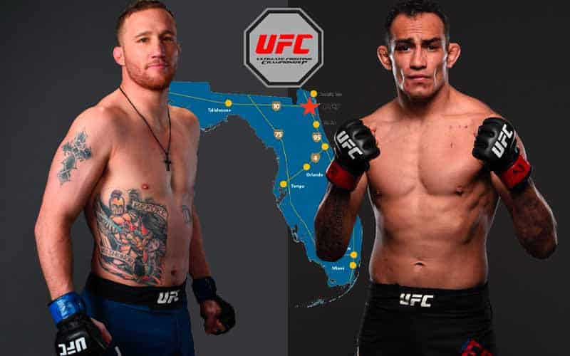 Gaethje and Ferguson standing shirtless amid a Florida map