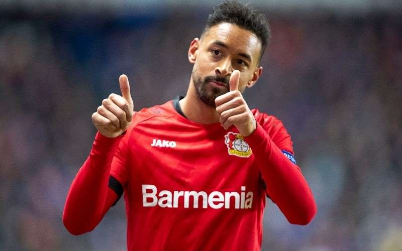 karim bellarabi of bayer leverkusen gives the thumbs up as bundesliga play resumes