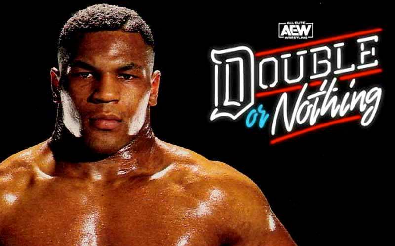 Mike Tyson next to AEW's Double or Nothing PPV logo