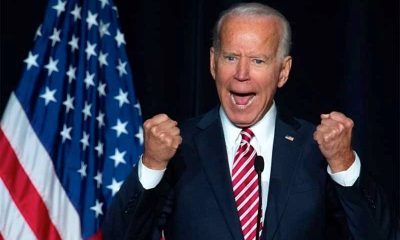 Joe Biden excited with fists clenched
