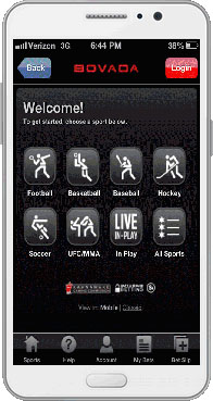 Bovada sportbook on mobile phone