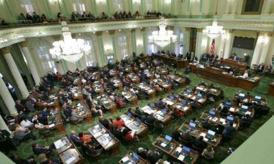 overhead view of the California legislature