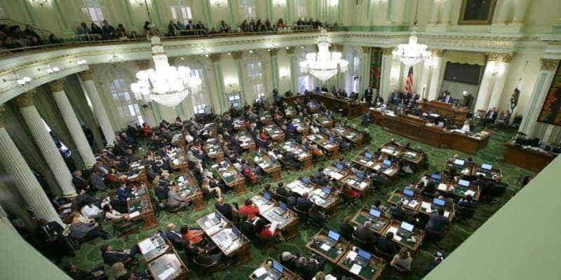 overhead view of the California legislature