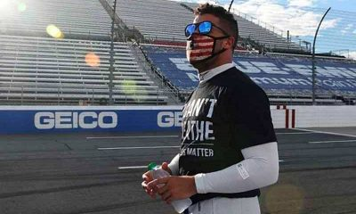 NASCAR driver Bubba Watson wearing a face mask and an I Can't Breathe t-shirt