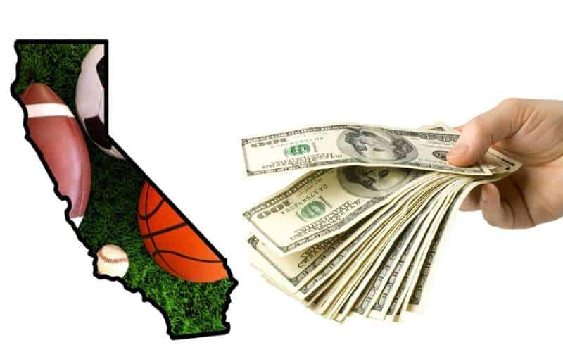 a map of CA with sports ball icons in it next to a hand that is handing cash to the state