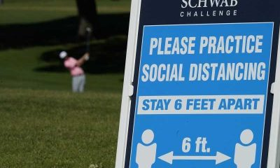 golf course sign explaining social distancing requirements at 2020 charles schwab challenge
