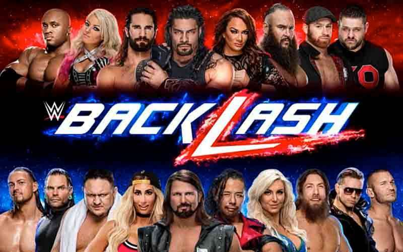 WWE wrestlers lined up next to each other above and below a Backlash logo