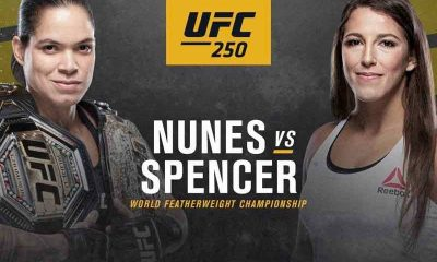 Nunes next to Spencer with a UFC 250 logo