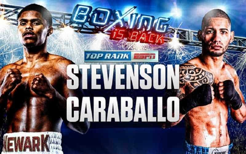 top rank promo poster for june 9 fight between stevenson and caraballo