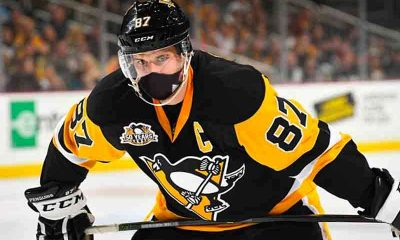 Sidney Crosby wearing a face mask for coronavirus protection