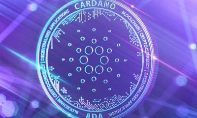 a stylistic mockup of the cardano ada token in coin form with a blue background