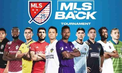 MLS Is Back Tournament Logo with ten players standing underneath