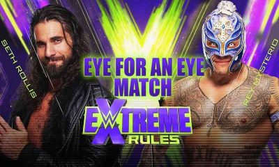 WWE extreme rules promo with Rollins on the left and Mysterio on the right