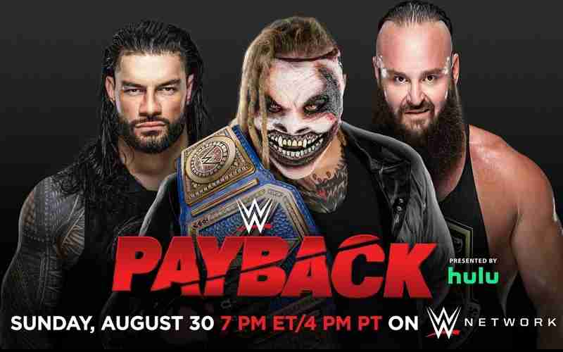 Roman Reigns, Bray Wyatt and Braun Strownman standing next to each other for a WWE Payback promo