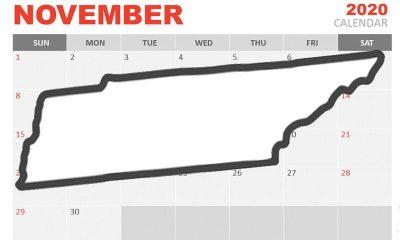Tennessee hovering over a November 2020 calendar