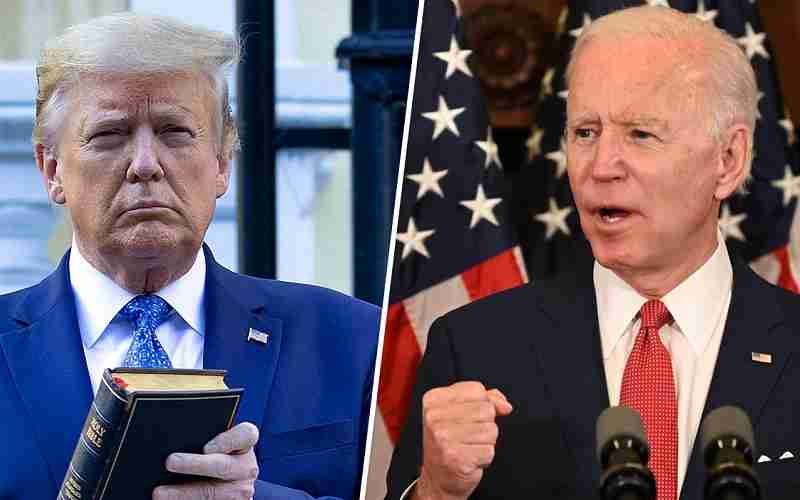 Trump holding a bible and Biden pumping his fist