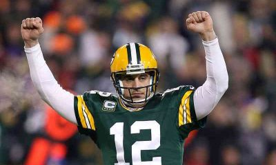 Aaron Rodgers celebrating