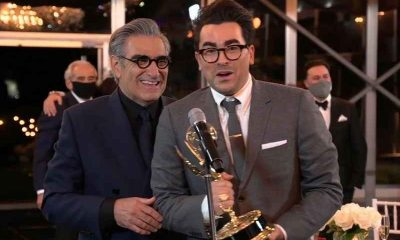 Eugene And Dan Levy speaking at the Emmy Awards