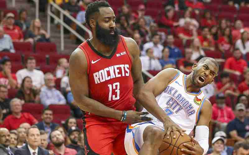 Chris Harden tangled up with Russell Westbrook