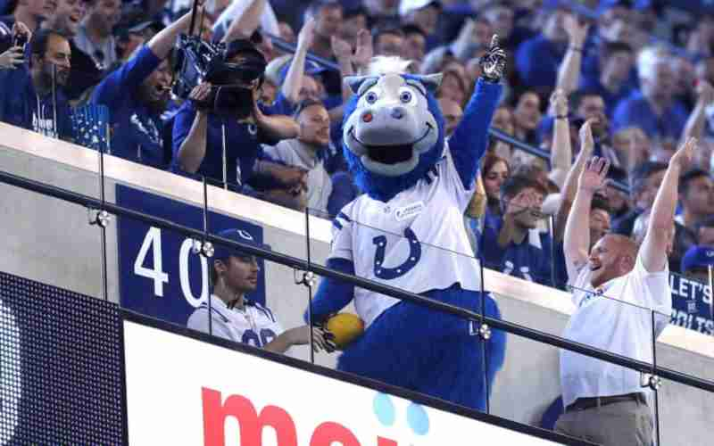 Colts Mascot With Arms Raised