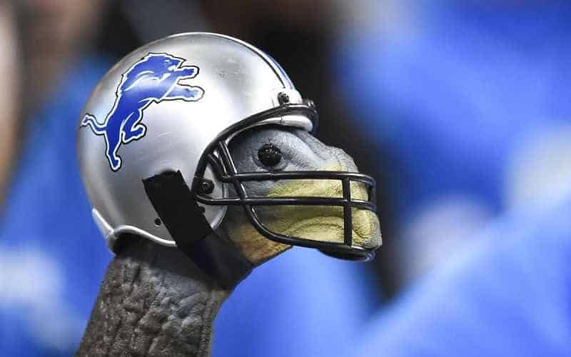 turkey with Detroit Lions helmet on