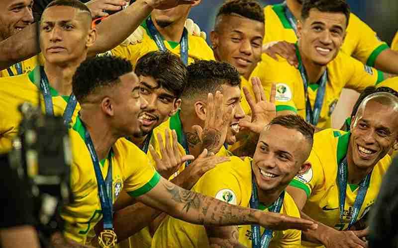 Brazil Soccer Team posing for a photo