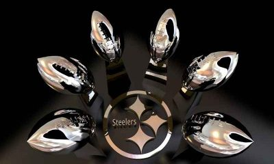 Pittsburgh Steelers 6 Lombardi Trophies on display