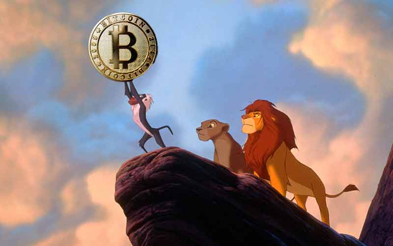 Simba holding up a Bitcoin