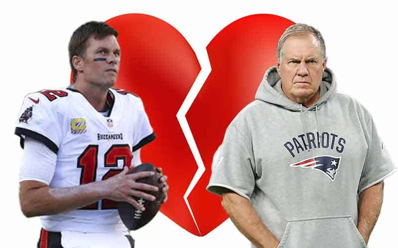 Brady and Belichick with a broken heart behind them