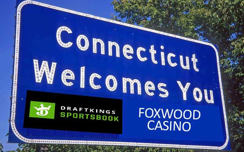 Connecticut Welcome Sign With DraftKings Sign