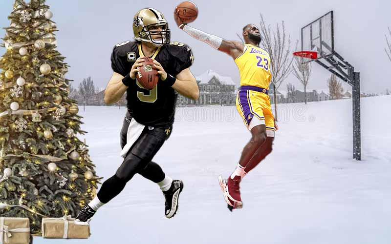 Drew Brews and LeBron James playing sports in the snow