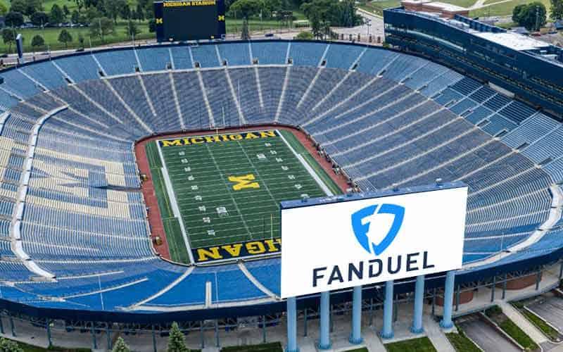 Michigan Stadium with FanDuel sign
