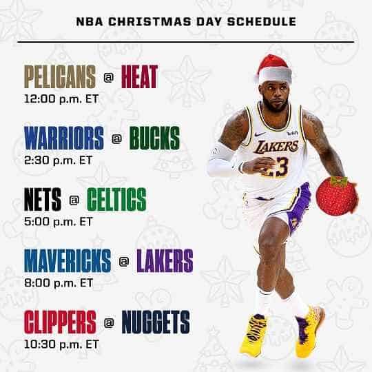 2020 NBA Christmas Day Schedule