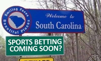 South Carolina road sign with sign underneath asking if sports betting is coming soon