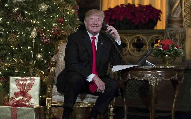 Trump on the phone in front of a Christmas Tree