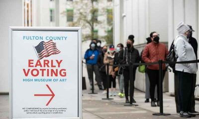 Voters standing in a line in GA
