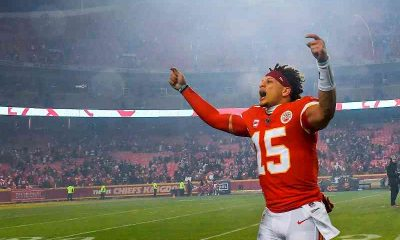 Patrick Mahomes celebrating Super Bowl win