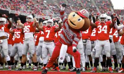 Ohio State Buckeyes Football Team with Mascot