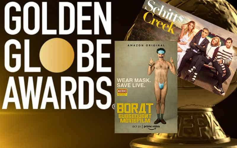 78th Golden Globes promo for betting odds for Borat and Schitt's Creek