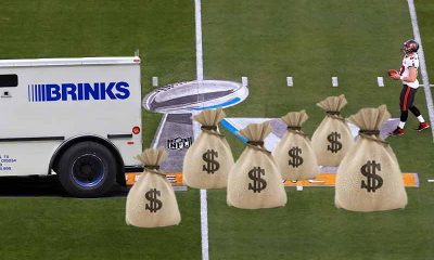 Bank truck dropping bags of cash on the Super Bowl 55 field