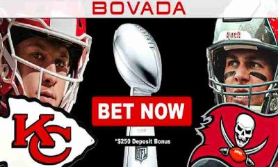 Bovada promo for Super Bowl LV with Kansas City Chiefs QB Patrick Mahomes and Tampa Bay Bucs QN Tom Brady