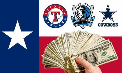Texas Flag with sports betting alliance member logos for Cowboys Mavericks Rangers
