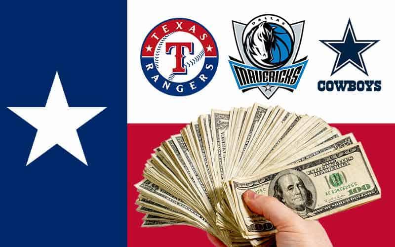 Texas Flag with sports betting alliance member logos for Cowboys Mavericks Rangers