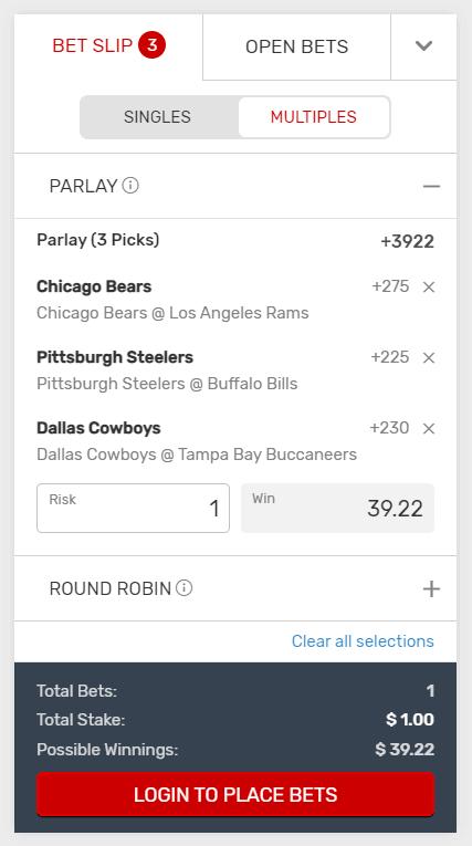Underdog NFL parlay